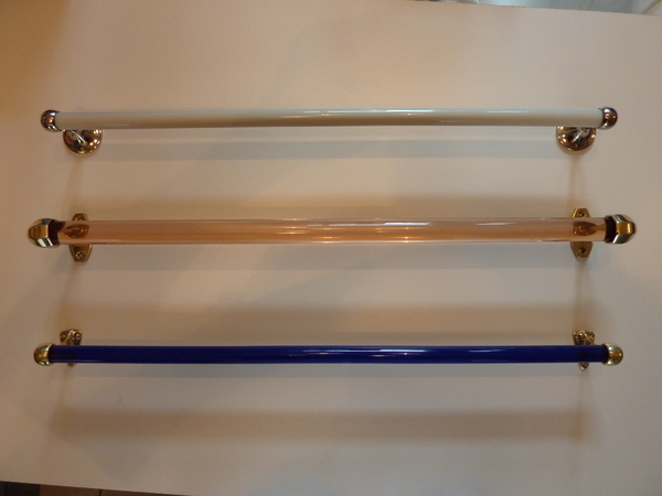 3No. Antique Glass Towel Rails C.1930