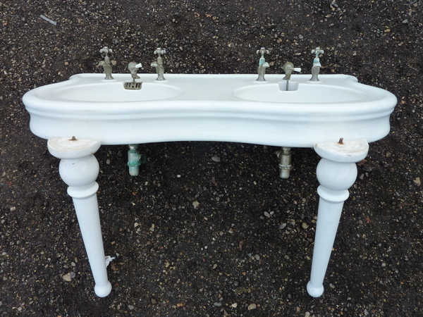 French Double Basin by Jacob Delafon, Paris on Legs C.1890